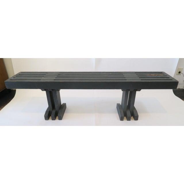 Vintage Gray Wood Slat Bench - Image 2 of 6