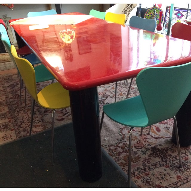 Image of Vintage Italian Red Lacquer Table