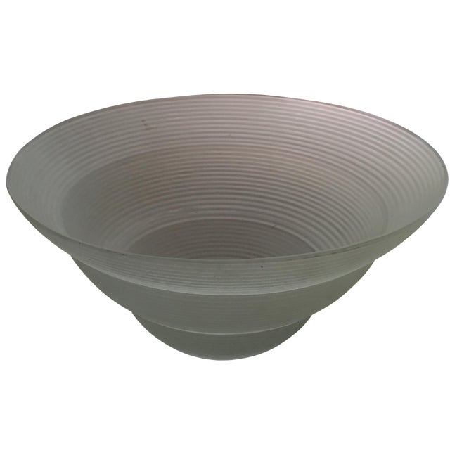 Large frosted glass centerpiece bowl chairish