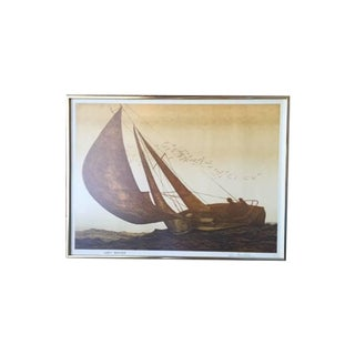 Roger Berghoff MCM Sail Boat Framed Lithograph