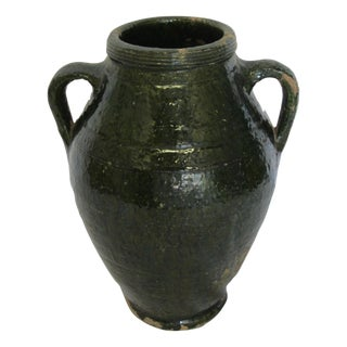 Vintage Dark Green Glazed Turkish Olive Jar