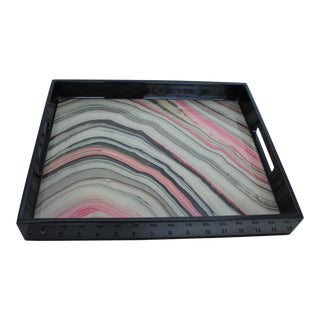 "Lacquer Tray With Beautiful Pink Iris Agate Design 15"" X 12"""