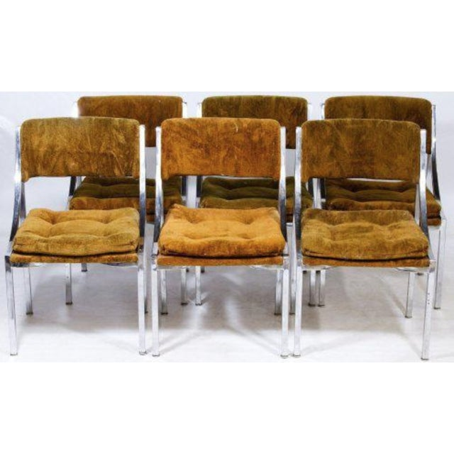 Chrome Dining Chairs with Gold Upholstery - Set of 6 - Image 3 of 3