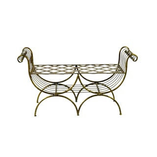Hollywood Regency Italian Metal Bench, 1960's