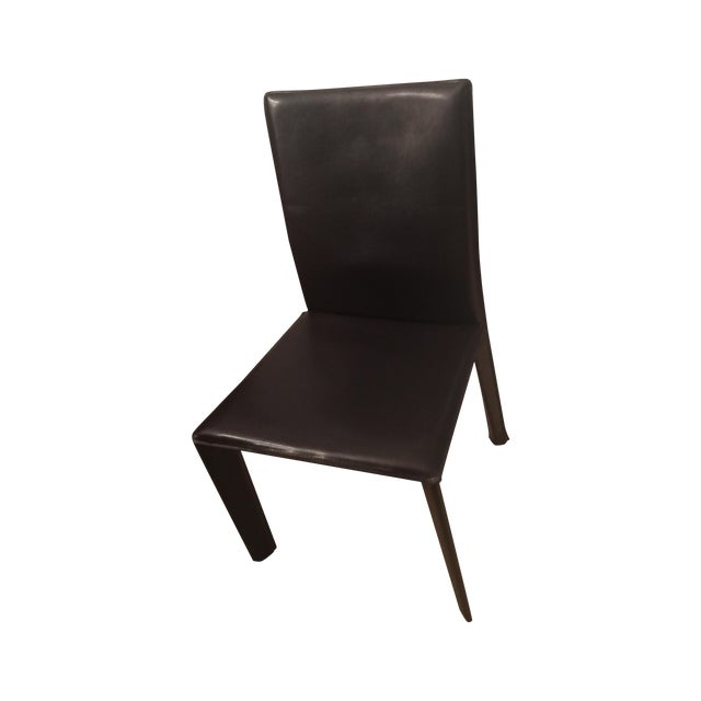 Brown leather parsons dining chair chairish for Leather parsons dining chair