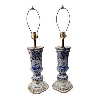 Dutch Blue & White Delft Lamps - A Pair