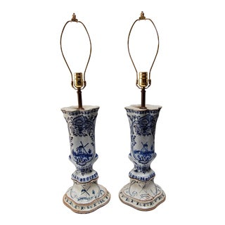 Dutch Blue & White Delft Lamps - A Pair