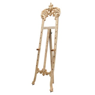 Antique Bleached Black Forest Hand Carved Tall Easel Display Stand