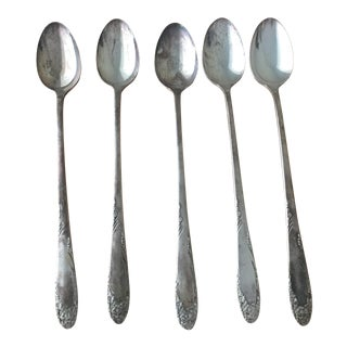 Antique Silverplate Iced Tea Spoons - Set of 5