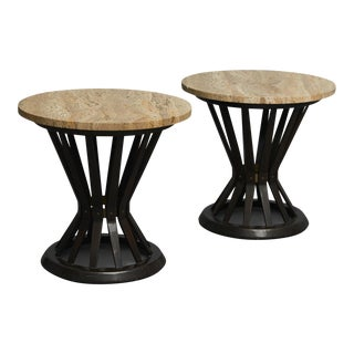 "Edward wormley ""Sheaf of wheat"" tables with travertine tops"