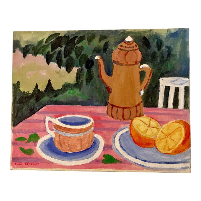 """Mid-Century Still Life """"Tea and Oranges in the Garden"""" by Joan Schreder - Image 1 of 4"""