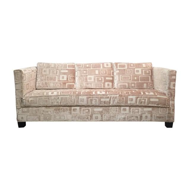 Custom Mid Century Sofa in Champagne Velvet - Image 1 of 11