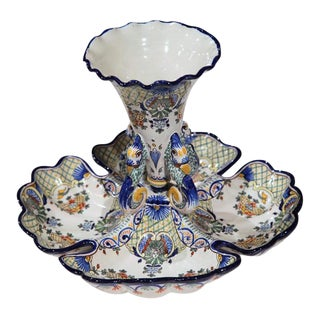 Early 20th Century French Hand-Painted Faience Dish Centre Vase from Nevers