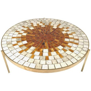 Rare Mosaic Top Table with Solid Brass Three-Legged Stilt Base by Mosaic House