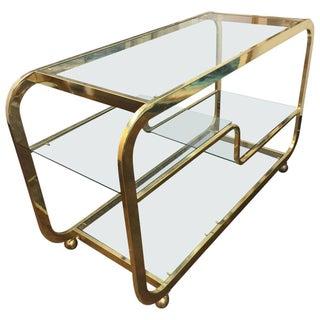 Milo Baughman Style 3-Tier Brass Bar Cart