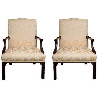 English Mahogany Upholstered Library Chairs