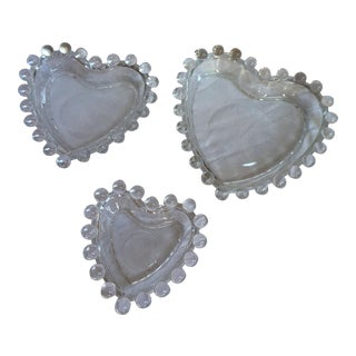 Vintage Clear Glass Nesting Heart Dishes - Set of 3