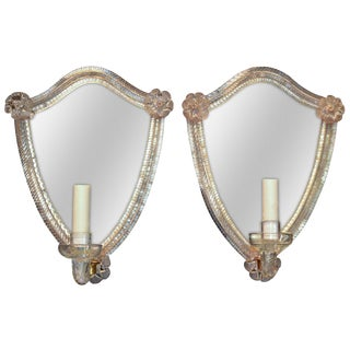 Pair of Venetian Etched Mirror Sconces