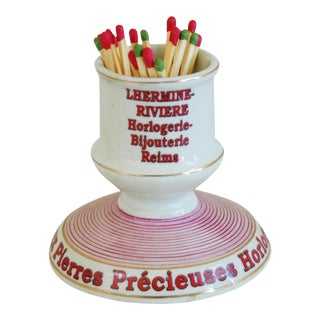 French Parisian Cafe Porcelain Match Striker & Holder