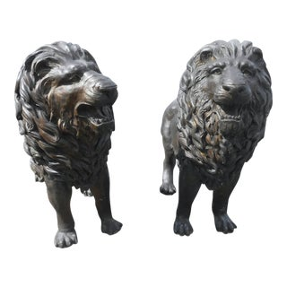 Pair of Majestic Bronze Lion Garden Statues