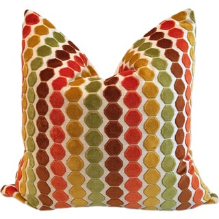 "Retro Geometric Cut Velvet 26"" Pillows - Pair"