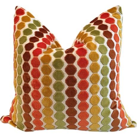 "Retro Geometric Cut Velvet 26"" Pillows - Pair - Image 1 of 4"