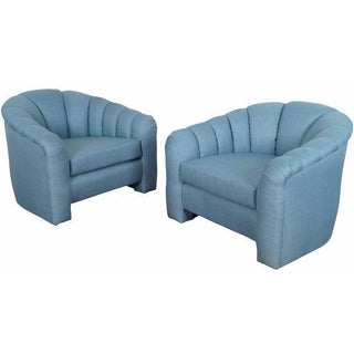 Hollywood Regency Channel Back Lounge Chairs - A Pair