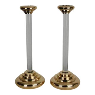 Karl Springer Brass & Lucite Candlesticks- A Pair