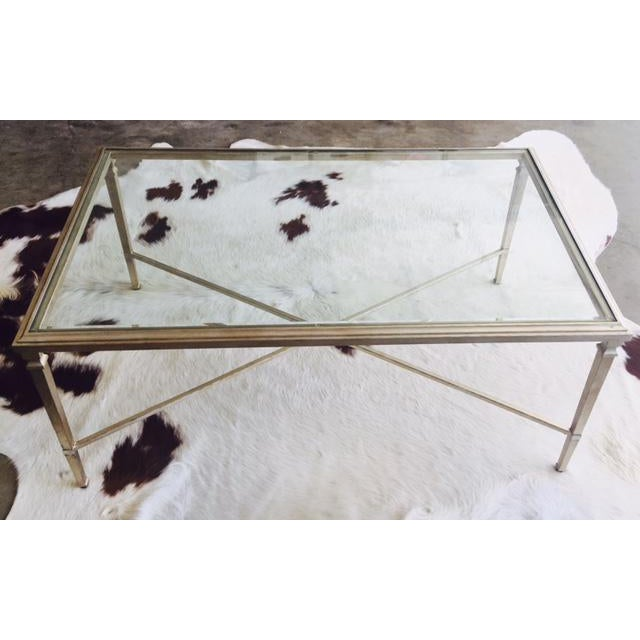 Glass Top Coffee Table Ethan Allen: Ethan Allen Heron Glass & Steel Coffee Table