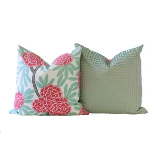 Pink and Mint Designer Down Pillow