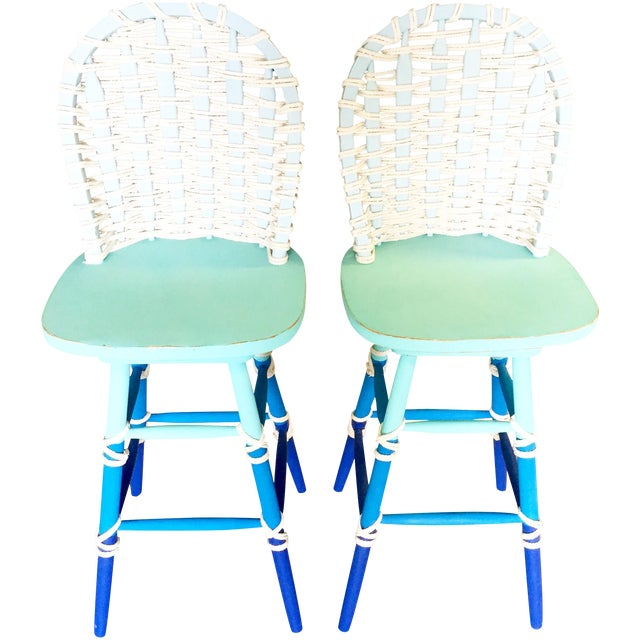 Nautical Wooden Bar Stools - A Pair - Image 1 of 8