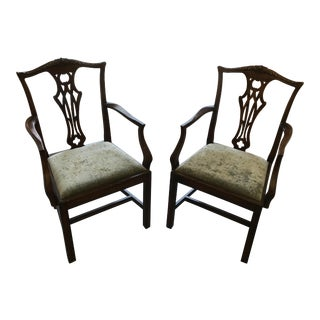 English Chippendale Antique Mahogany Chairs - A Pair