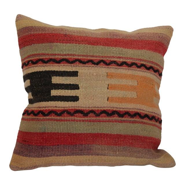"Turkish Vintage Kilim Pillowcase - 16"" x 16"" - Image 1 of 6"