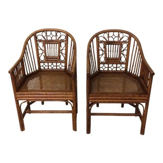 Chinese Chippendale Style Bamboo Chairs - Pair