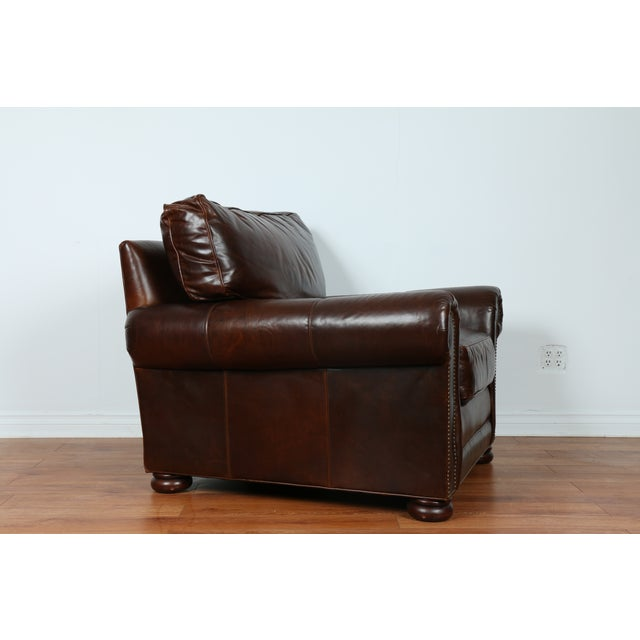 Brown Leather Chair With Ottoman - Image 6 of 11