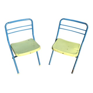 Vintage Metal Folding Child's Chairs - A Pair