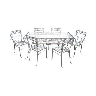 Vintage White Painted Iron Patio Dining Set