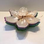 "Image of Crystal Opalescent Flower Plates by ""Akcam"" - Set of 4"