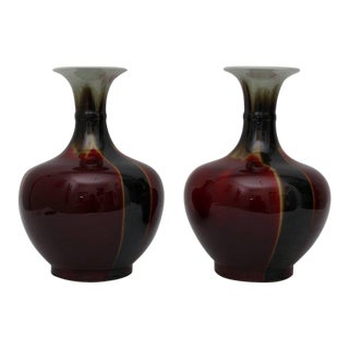 Chinese Oxblood Flambé Glazed Vases - A Pair