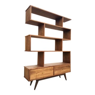 Mid-Century Custom Walnut BookCase Wall Unit