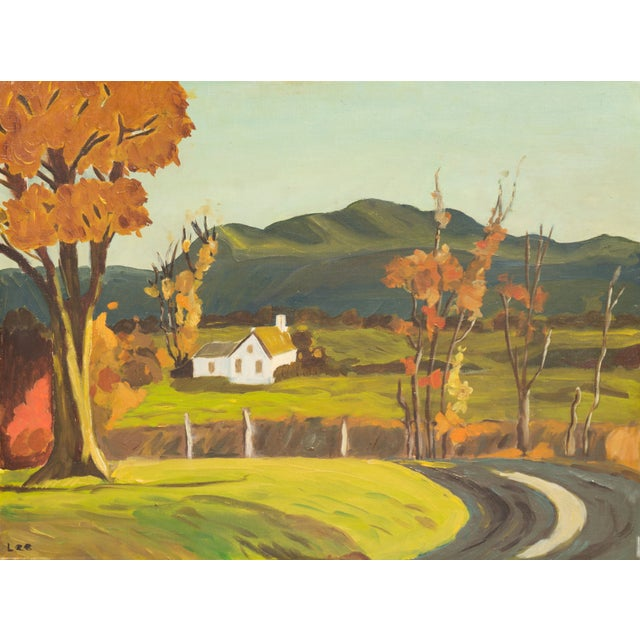 Vintage 1960 Farmhouse in Autumn Oil Painting - Image 1 of 6