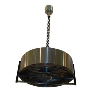 Vintage French Modernist Stainless Steel Hanging Light