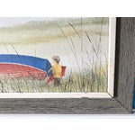 Image of 'A Boy & His Red Kite' Mid-Century Painting on Canvas