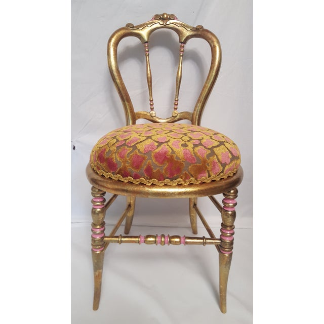 Hollywood Regency Gold-Leafed & Leopard Velvet Vanity Chair | Chairish