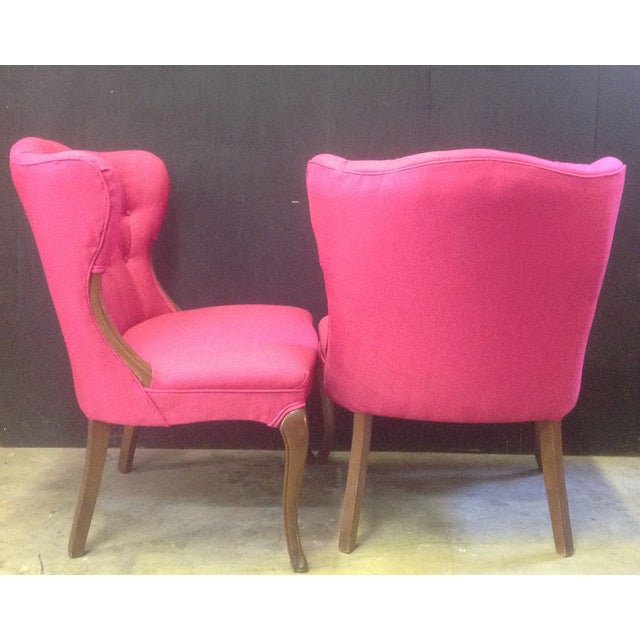 Hot Pink Regency-Style Chairs- A Pair - Image 4 of 6