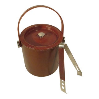 Leather & Stainless Steel Ice Bucket & Tongs
