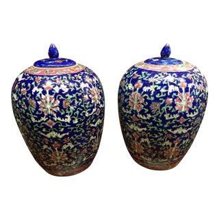 Blue Chinese Ginger Jars - A Pair