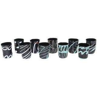 Unique Handblown Black Murano Glass Tumblers, Set of Ten