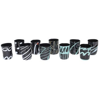 Unique Handblown Black Murano Glass Tumblers, Set of Ten