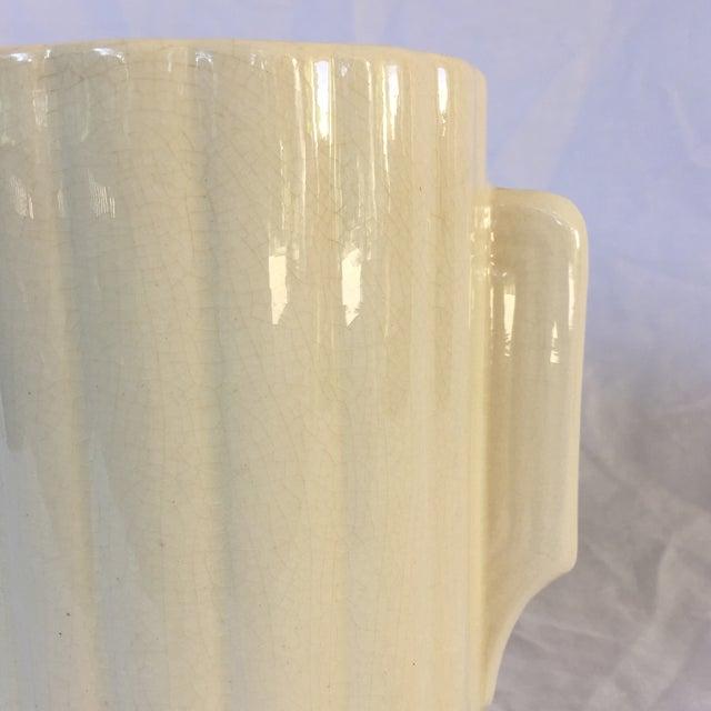 Art Deco Crackled Cream Ceramic Vase - Image 5 of 5